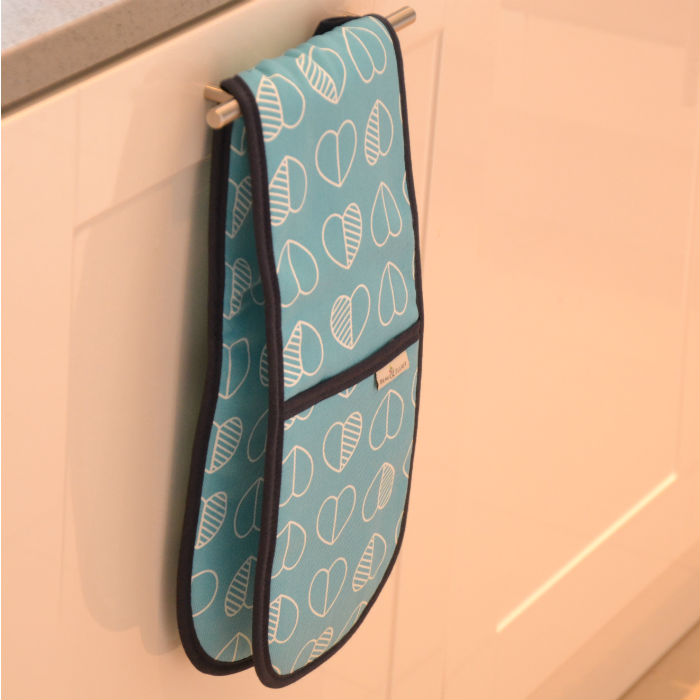 Teal Outline Double Oven Gloves