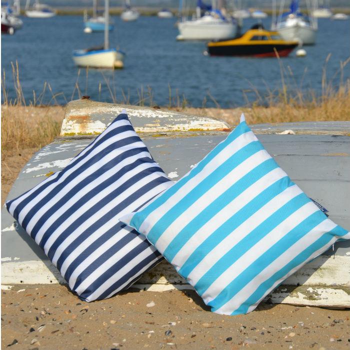 Aqua & Navy Striped Cushion