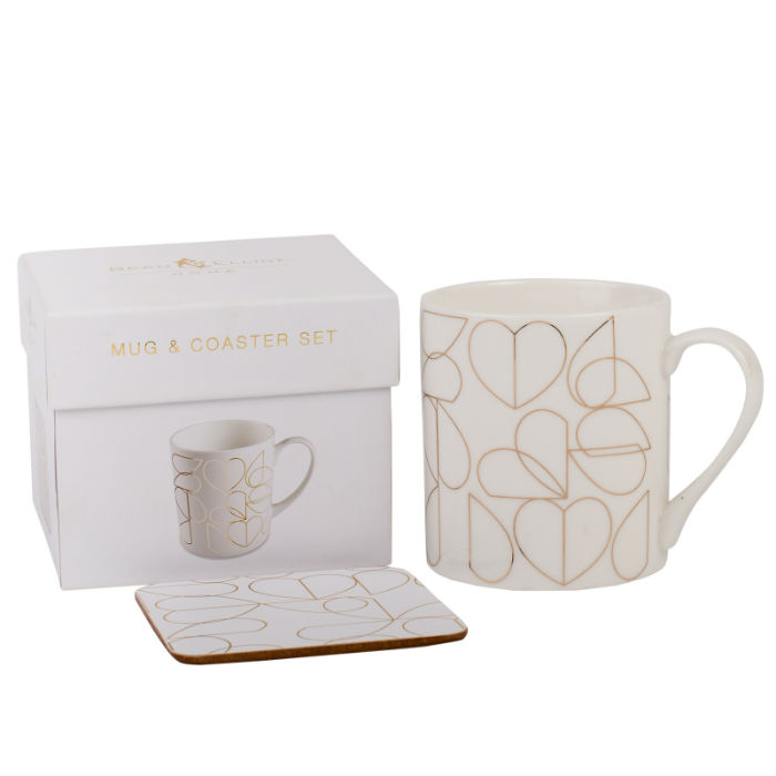 Oyster Mug Coaster Set in Gift Box