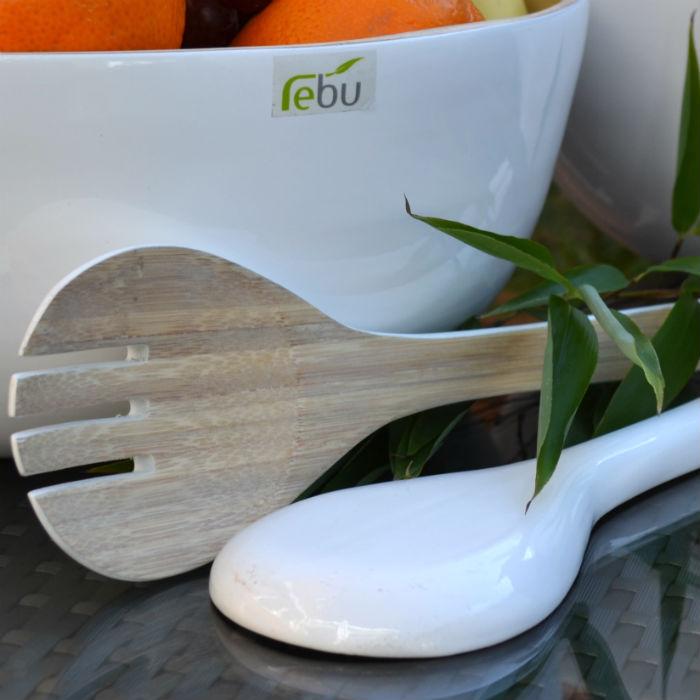 White Bamboo Salad Bowl & Servers Set