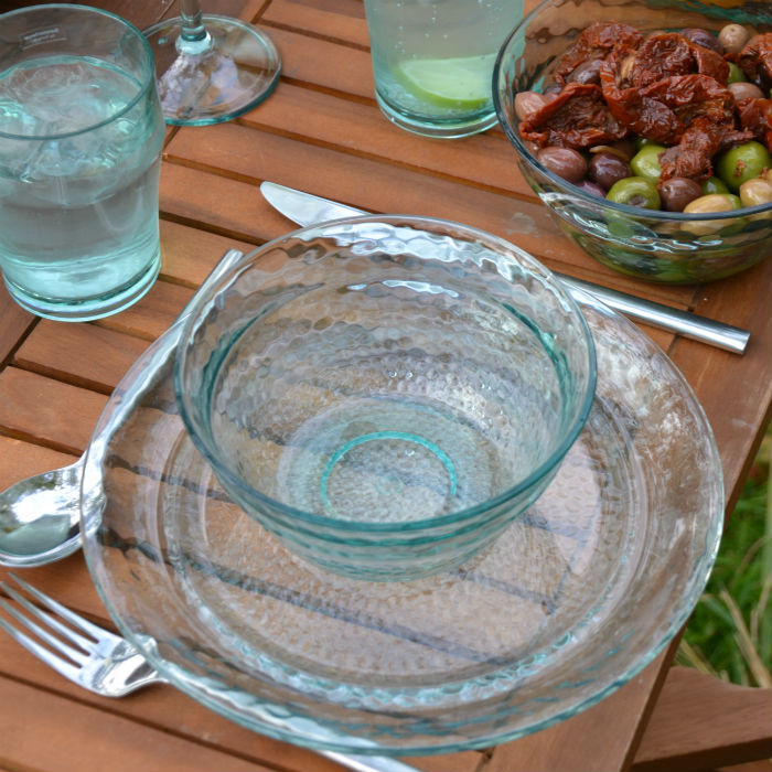 Recycled Glass Effect Set of 4 Dinner Plates