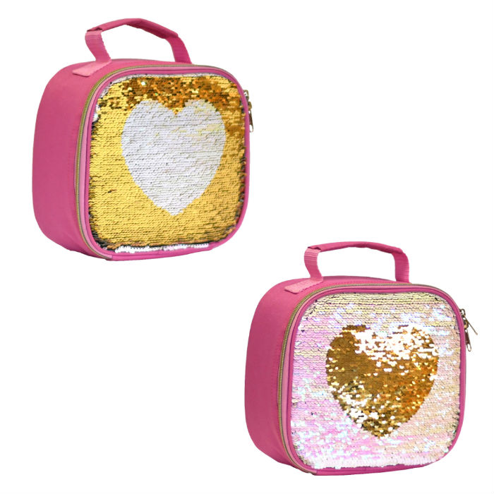 Sequins Hearts Lunch Bag