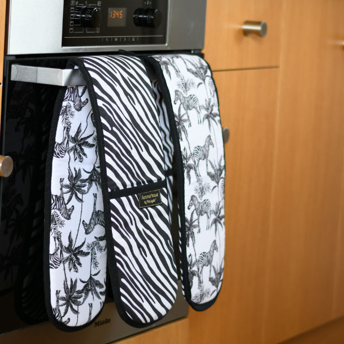 Double Oven Gloves Zebra