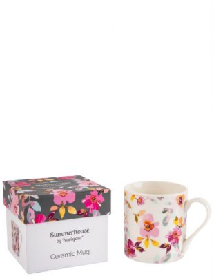 White Floral Mug in Gift Box