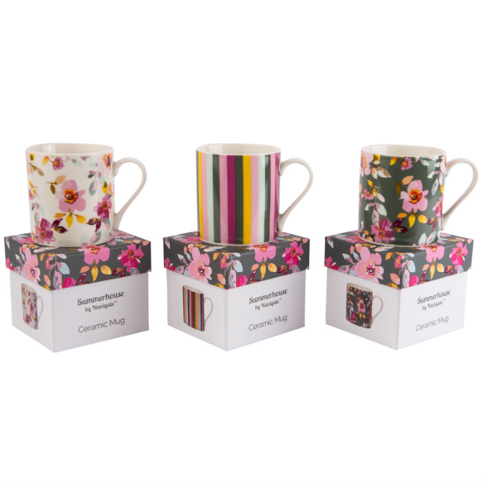 Gardenia Mugs in gift boxes.