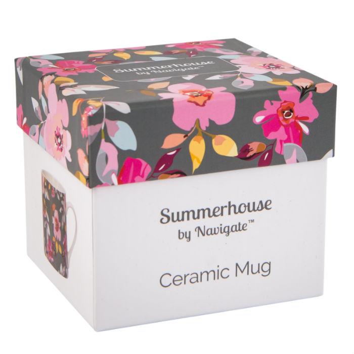 Grey Floral Mug in Gift Box