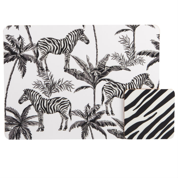Zebra Placemat Set of 4 plus coaster