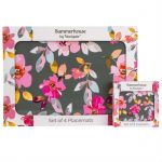 Gardenia Grey Floral Set of 4 Placemats & Coasters