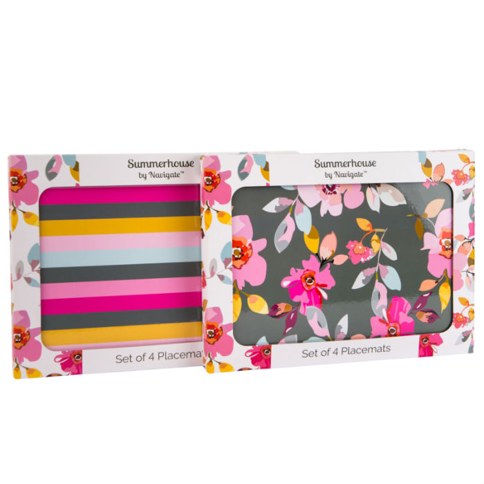 Gardenia Grey Floral & Stripe Set of 4 Placemats