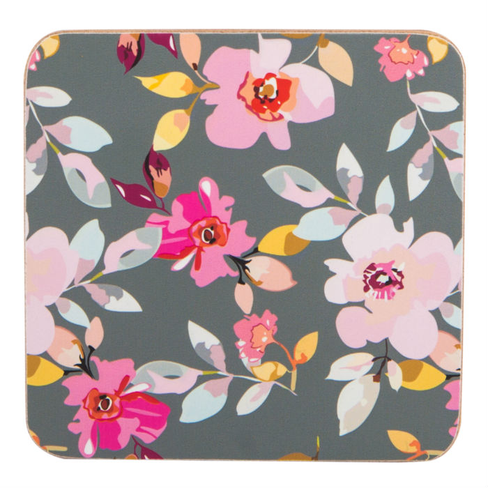 Grey Floral Coasters Set of 4