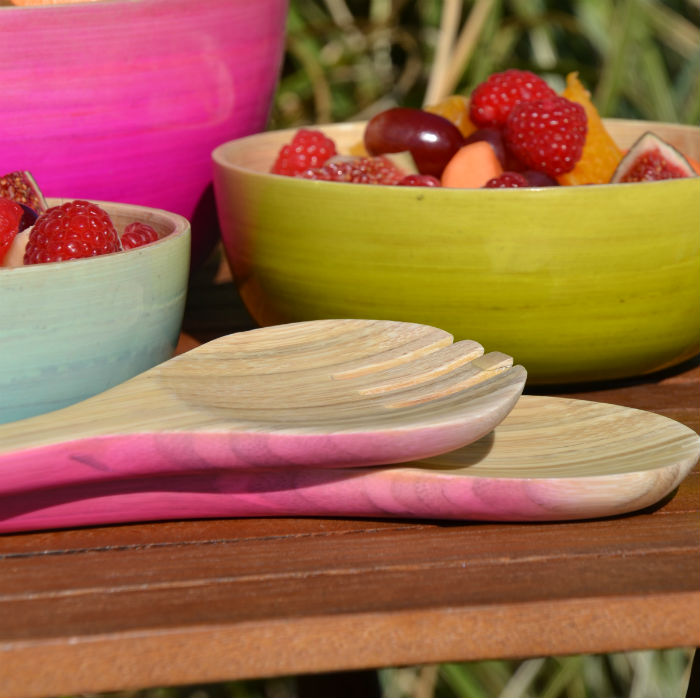 Pink Ombre Bamboo Salad Servers