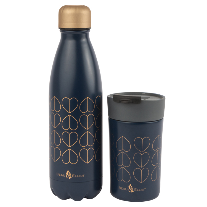 Navy 500ml Vacuum Bottle & Travel Mug