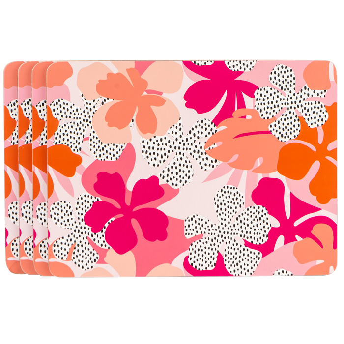 Tribal Fusion Floral Set of 4 Placemats