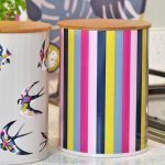 Guatemala Stripe Canister with Bamboo Lid